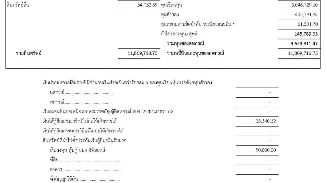 แบบรายงานย่อแสดงสินทรัพย์ 31 พ.ค.62